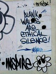 Blank walls are ethical silence... (Idiot The Wise (aka: INSPIRE)) Tags: street streetart streets art public typography photography one graffiti israel vimeo idiot photos tel aviv jerusalem icon seven artists wise try middle inspire eastern iconography artworks exodus itw iwt idiotthewise inspirecollective
