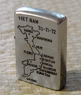 From http://www.flickr.com/photos/51764518@N02/9731091551/: Vintage Vietnam War Era Zippo Cigarette Lighter Dated 70-71-72 with Map of Vietnam