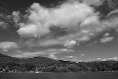Cloud over Lake George (brev99) Tags: blackandwhite cloud lake skyscape day cloudy lakegeorge hills photoshopelements9 samsungtl240
