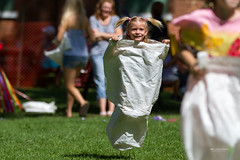 Sack Race (Rock Steady Images) Tags: summer ontario canada smile grass race canon children fun picnic 7d 200views hop sack 50views beeton 25views canonef70200f28 bypaulchambers rocksteadyimages