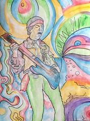 image (Erik Franco Art) Tags: people music celebrity art rock portraits painting mixed 60s beatles watercolors legend jimihendrix santabarbaraart erikfranco erikfrancoart