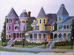 """""""West Bluff Road"""" (Jan Nagalski (jannagal)) Tags: tower artwork crossstitch streetlamps michigan queenanne victorian stitches wife whitepicketfence turret mackinacisland victorianhomes lakehuron mywife ironfence canonpowershot straitsofmackinac vacationhome summerhome victorianera crossstitchpattern queenannehomes gingerbreadtrim jannagal jannagalski westbluffroad crossstitchpicture"""