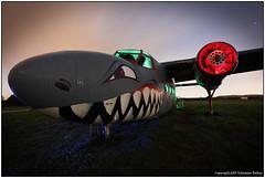 Shark (seb a.k.a. panq) Tags: old nightphotography light red moon lightpainting cold green abandoned metal night painting airplanes moonlight sebastianbakajphotography