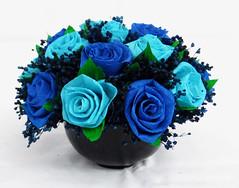 composizione floreale blu azzurro