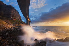 Sea Cliff Bridge (stevoarnold) Tags: ocean morning bridge sea cliff seascape water clouds sunrise waves australia nsw newsouthwales stanwellpark goldenlight seacliffbridge