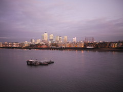 Thames at Wapping (P_L_Wood) Tags: uk england london thames river evening docklands canarywharf riverthames barge wapping