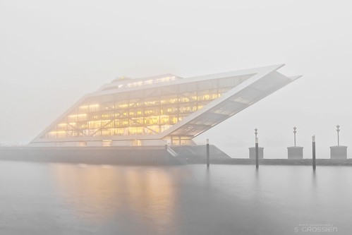 Dockland building on a foggy morning II
