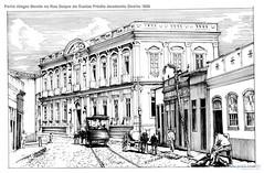 Porto Alegre Bonde na Rua Duque de Caxias Prédio Academia Direito 1900