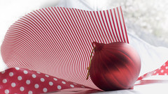 ready to wrap~Explored# 479 (Wendy:) Tags: christmas red wrapping paper stripes spots ribbon bauble explored christmaspicturegallery tp771