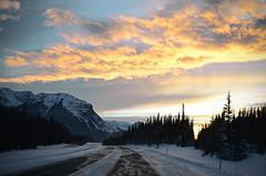 Yellowhead Hwy in Winter (Creativariation) Tags: park winter sunset canada highway jasper national alberta yellowhead
