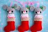 christmas mouse ornaments (sugarelf) Tags: christmas cute mouse sock handmade crochet plush ornament stocking amigurumi