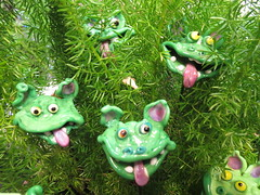 Green Goblins Art (shaire productions) Tags: sf california nature leaves ceramic photo artistic crafts magic arts picture pic clay photograph sfbayarea monsters shrub creatures magical imagery goblins