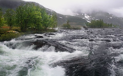 Whitewater Fed by Glacier, Norway (Simon__X) Tags: ocean travel blue sea vacation sky panorama sun mountain holiday 3 seascape tr