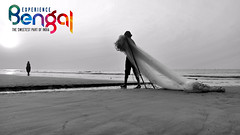 The Fisherman from Gangasagar (pallab seth) Tags: fishing fisherman fisherwoman gangasagar 2017 sea bayofbengal bengal india pallabseth asia tradition custom culture bathing candid candidshot people peopleoftheworld indian asian outdoor dawn landscape morning samsungnx300m samsung16mmf24ifunctionlens blackandwhite
