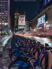 Gritty 8th Avenue (20170317-DSC08734-Edit-Edit) (Michael.Lee.Pics.NYC) Tags: newyork night cityscape 8thavenue citibike msg madisonsquaregarden lost billboard nyt newyorktimes lighttrails traffictrails snow longexposure sony a7rm2 fe2470mmf28gm