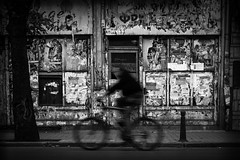 In the street of Sofia (parenthesedemparenthese@yahoo.com) Tags: dem bn biker blackwandwhite ete monochrome nb noiretblanc streetphotgraphy textures tree affichesdechirees arbre bicycle bnw bulgarie byn canon600d cycliste dehors ef50mmf18ii facades outdoor rippedpaper sofia streetphotographie summer tarmac
