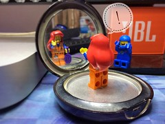 Bad Hair Day! (parik.v9906) Tags: minifigures minifigure minifig funny joke brush comb makeup compact mirror red long day bad hair edited shotoniphone iphoneography apple iphone days project 365project 365days 365 legos lego