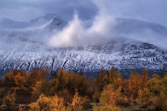 Misty mountains (Kari Siren) Tags: mountain fog mist autumn colors snow stora sjöfallet national park sweden