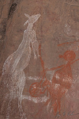 Aboriginal Rock Paintings (Jay Packer) Tags: oceania paintings rockart hunting pictographs art tribalart northernterritory australia indigenouspeoples drawings kangaroos location unfiledmanycanbedeleted people aboriginals ancestral ancient ethnic homosapiens humans pictogram pictogramme pictograph tribe