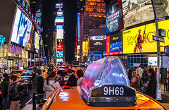 Times Square (Brandon Godfrey) Tags: newyorkcity nyc newyork timessquare billboard ads night nikond700 colorful broadway taxi cab manhattan midtown urban cityscape people thebigapple fisheye