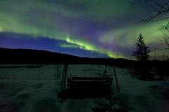 042017 - A nice spot to watch the sky (Nathan A) Tags: alaska ak fairbanks salcha northstar river spring cold ice snow night aurora auroraborealis northernlights nightsky stars farnorth geomagnetic green bench swing view relax nature outdoors beauty skygazing