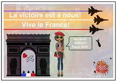 Champs Elysees 20 April 2017 (mockba1_1999 (William Sutherland)) Tags: france paris terrorism isis tribute cartoon defiance victory champselysees arcdetriomphe fighterjets bomb youngwoman