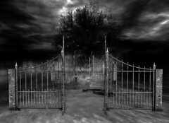 Gates of Eternity: Heaven or Hell? (jakobfrost) Tags: mythic unreal surreal fantasy gates dark uncertain vague brooding digital