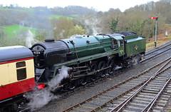 Waiting Departure. (curly42) Tags: 92214 9f steam railway svr preservedsteamloco highley brstandardsteam severnvalleyrailway 2100 svrspringgala2017