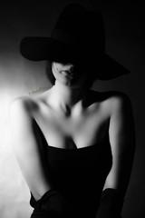 noir portrait (Dionysusgodofolympus) Tags: portrait noir black white elegante cappello dress guanti girl hat half body light bn shadows ombre mysterious gloves