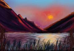 Lakeland Sunset (Pat McDonald) Tags: artrage digitalart lakeland sun sunset colourful hills reflections grasses lakes