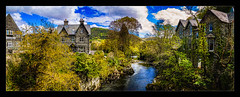 Betws-y-Coed (Kev Walker ¦ From Manchester) Tags: architecture beautiful betwsycoed britishculture building canon1100d canon1855mm colorfull hdr historical northwales panorama panoramic photoborder postprocessing riverconway river