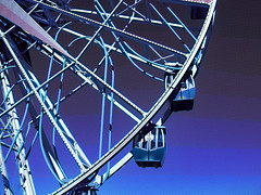 Mickey's Fun Wheel , (Steve Taylor (Photography)) Tags: mickeymouse ferriswheel paradisepier disneyland resort anaheim california unitedstates usa art design digital blue mauve purple white metal texture