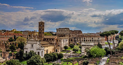 The Colosseum from Palatine Hill (NikNak Allen) Tags: rome italy roman building buildings architecture old history tourism tourists high look view trees grass sky clouds plane blue green forum