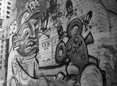 Bleury Lot 2 (nroclaniffirg) Tags: ilforddelta3200 ilford film analog 120 mediumformat blackandwhite bw monochrome bronica zenzanon montreal argentique graffiti streetart 645 rodinal standdevelopment