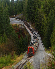 WFP 302 ~ Nimpkish Valley (Chris City) Tags: train railway railroad shortline logging forestry bridge sw1200rs wfp canfor nimpkishvalley vancouverisland woss