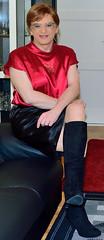 Birgit023921 (Birgit Bach) Tags: skirt rock top satin boots stiefel