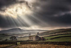 Sun Rays Over Hawes, North Yorkshire, UK (MelvinNicholsonPhotography) Tags: yorkshire yorkshiredales hawes sunrays crepuscularrays stonebarn dales hills rollinghills sky dramaticskies clouds sun melvinnicholsonphotography landscapephotographyworkshops 121photographytuition wwwmelvinnicholsoncouk