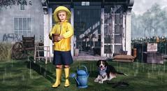 Love is lost in immensities; it comes in simple, gentle ways. (Skippy Beresford) Tags: boy child children kids spring sunlight rain shower garden gardening dog light love friendship