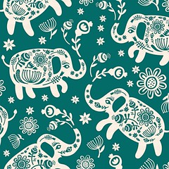 Pachyderms & posies! New pattern on my spoonflower.   https://www.spoonflower.com/designs/6308366-pachyderms-posies-jade-big-by-pinkowlet  #pinkowlet #patterndesign #spoonflower #elephants (buzzygirl) Tags: patterndesign pinkowlet spoonflower instagramapp square squareformat iphoneography