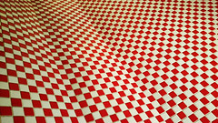 Red & white squares (Carlos ZGZ) Tags: 2d ccby carloszgz abstract abstrait geometry geometría géométrie squares red white wall carrelage baldosas distorsion wallpaper original psychedelic colour perspective indoor cmstoolsphotoring fondodepantalla postal postcard cartepostale freeculturalworks openlicense creativecommons freepictures geometria geometrie color rouge couleur blanco rojo pared blanc muro mur pattern texture textura motif