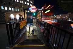 Charing Cross Underground Entrance - London (Luke Agbaimoni (last rounds)) Tags: charingcross underground londonunderground londontube bus londonbus subway metro night roundel tube london stairs