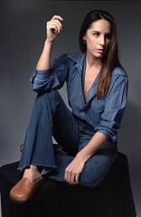 Tiffani Blue 7 (neohypofilms) Tags: portrait series blue bleu denim style fashion retro vintage jeans hair long shoes clogs mules slippers 70s 60s hippie color colour 35mm film slr nikon f studio model classic pinup
