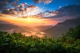 North Carolina Blue Ridge Mountains Sunrise Highlands NC