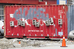 Cinder blocks and bricks on container (jer1961) Tags: toronto container shippingcontainer kline klineamerica brick bricks cinderblock art foundart