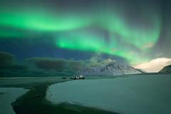 Northern lights at Flakstad (Nicolas Rottiers) Tags: northern lights aurora borealis aurores boréales norway norvege norge lofoten