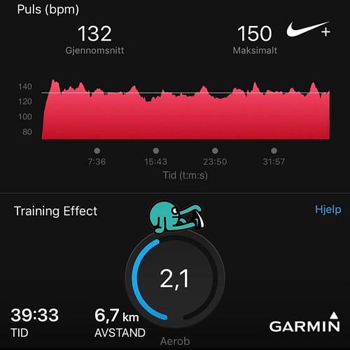 Sone 2 er en utfordring ennå. Så himla vant til å cruise i sone 3. Målet er å bli raskere på farta øktene, så blir spennende å følge utviklingen syns jeg 😊 // Z2 Easy Run - Ran 6,72 kilometres with Nike+ Run Club #LetsDoThis! #nrc #justdoit #beatyes