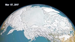 Sea Ice in the Northern Hemisphere on 7 March 2017 (sjrankin) Tags: 21april2017 edited nasa 7march2017 seaice northpole earth visualization primage arcticocean northamerica asia siberia japan russia canada unitedstates pacificocean