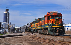 "Southbound Transfer in Kansas City, KS (""Righteous"" Grant G.) Tags: bnsf railway railroad locomotive ge emd power kansas city missouri transfer freight train trains yard job south southbound"