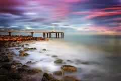 La vie en rose (Anto Camacho) Tags: landscape pier xilxes bigstopper mediterraneansea seascape rocks lights foam nature castellón valencia longexposure clouds sky