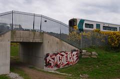 Carrigtohill 17 (WonsBroda) Tags: vons usp graff chrome grafiti cork train line pociag panel kolej railway bridge commuter red ireland